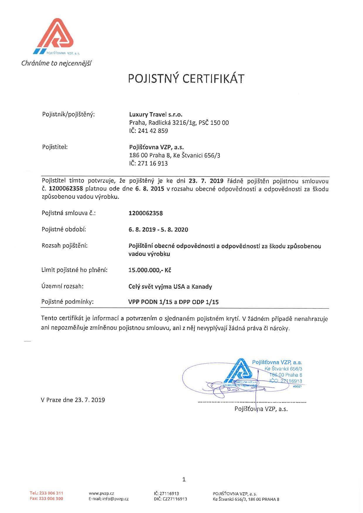 Luxury Travel - certifikát 2019