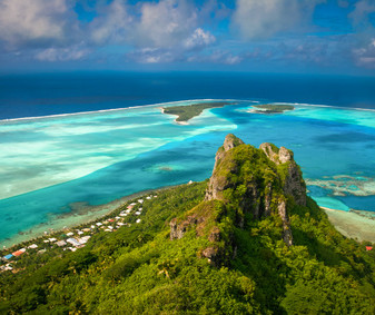 View on the peak mountain, Maupiti, French Polynesia